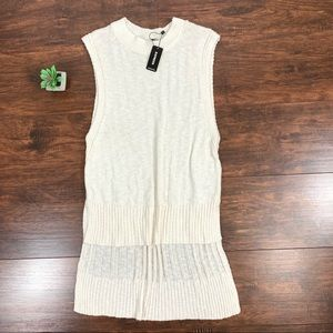 NWT Express White High Low Knit Sleeveless Sweater